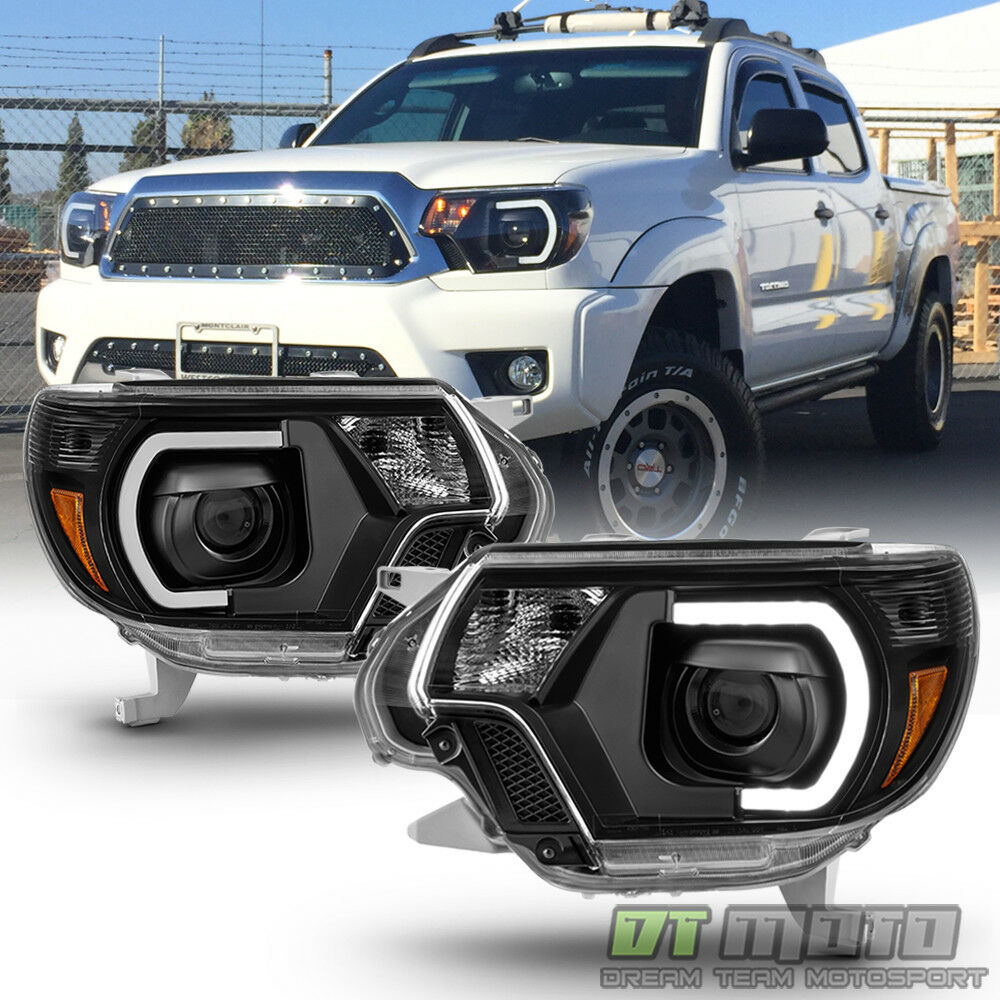 black 2012 2013 2014 2015 toyota tacoma led drl light tube projector headlights ebay. Black Bedroom Furniture Sets. Home Design Ideas