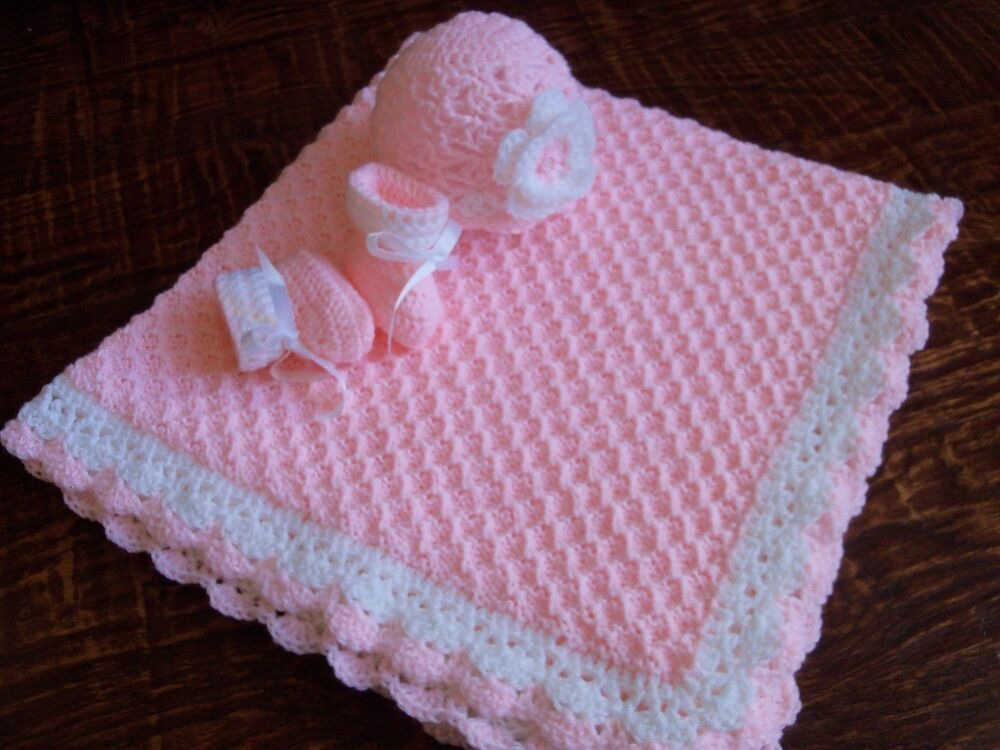 Knit/Crochet Personalized Baby Blanket, Hat and Booties ...