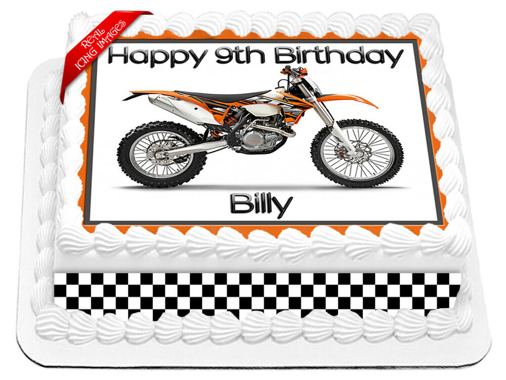 KTM Motor Trail Bike Edible Cake Image Icing Personalised Birthday ...