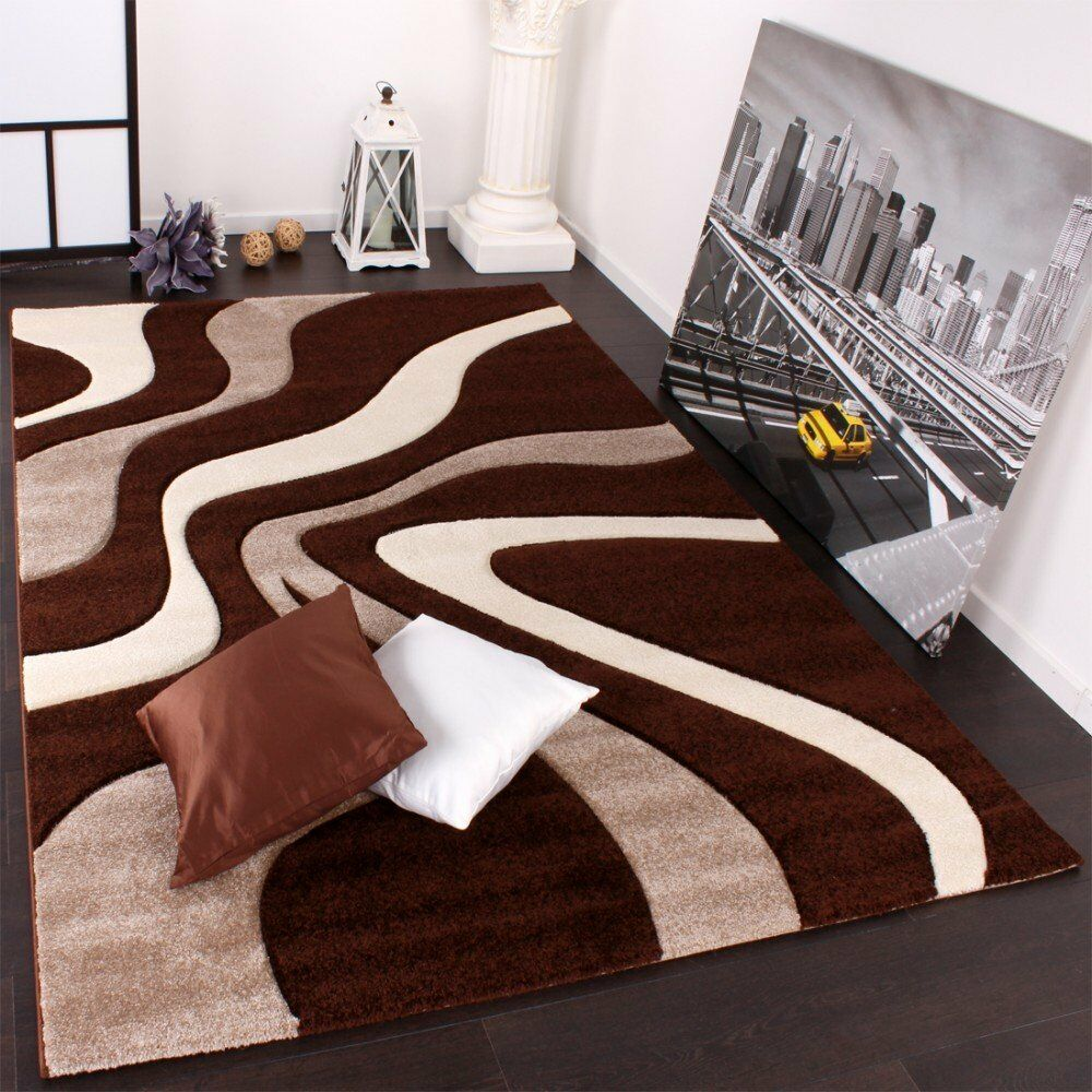 Luxury brown and cream rug abstract pattern living room Large living room rugs