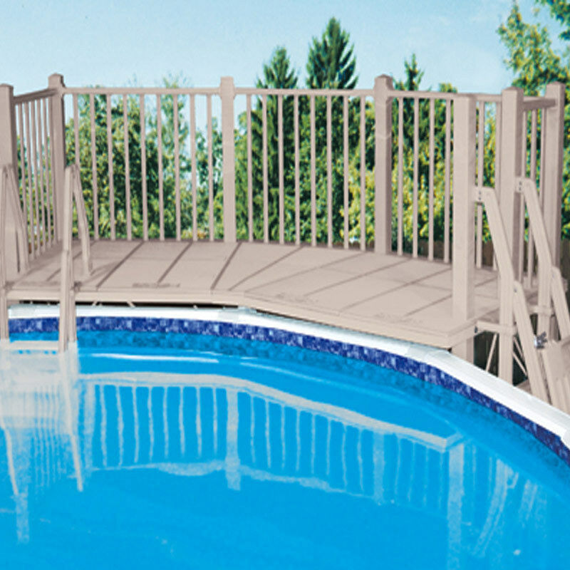 Vinylworks 5 39 x13 5 39 above ground resin swimming pool deck w ladders taupe ebay for Resin above ground swimming pools