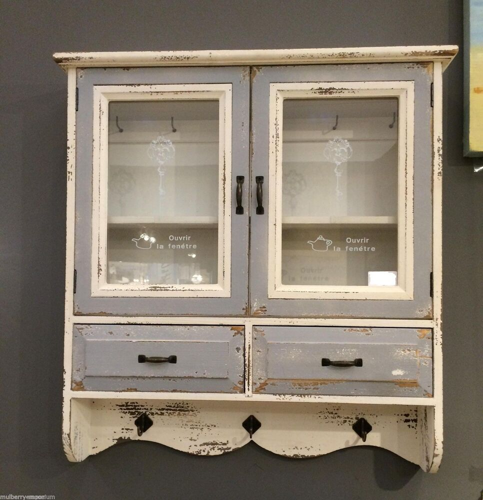 wooden cabinet vintage french glass wall storage unit hooks shelves drawers ebay. Black Bedroom Furniture Sets. Home Design Ideas