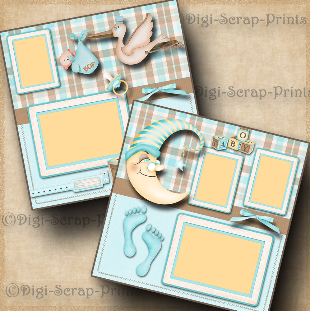 2 Premade Scrapbook Pages For Album Layout
