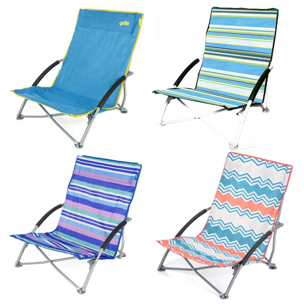 Details About Low Folding Beach Chair Camping Festival Pool Picnic Deckchair Lounger