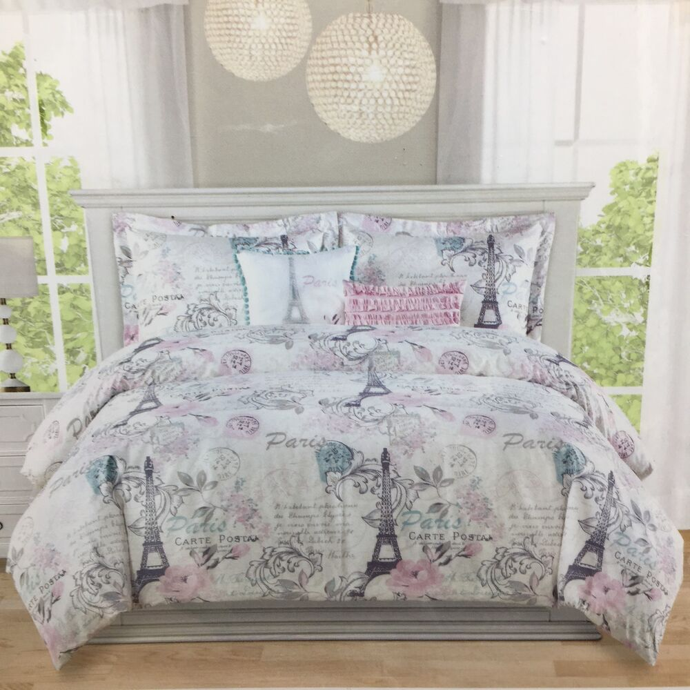 2pc paris twin duvet pillow sham set eiffel tower floral pink gray parisian new ebay. Black Bedroom Furniture Sets. Home Design Ideas