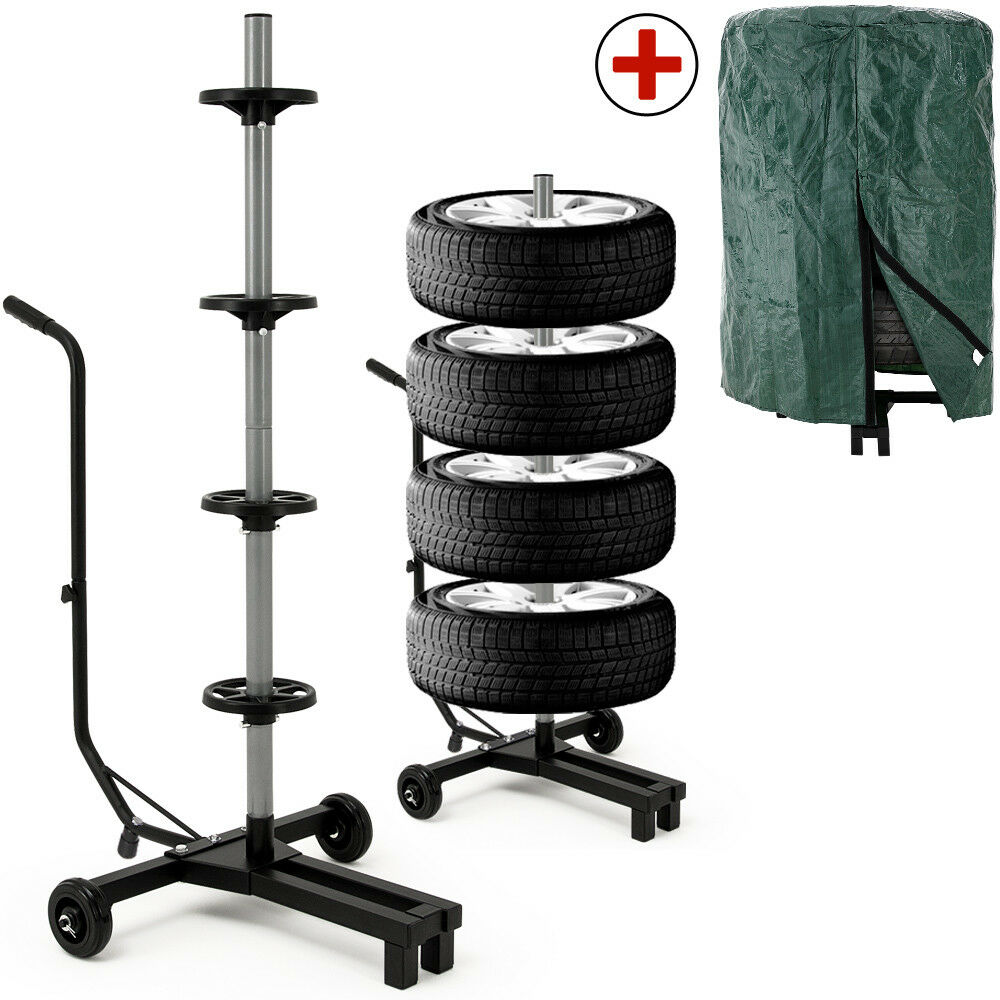 tyre storage stand car wheel stand tree movable 4 complete rim holder trolley ebay. Black Bedroom Furniture Sets. Home Design Ideas