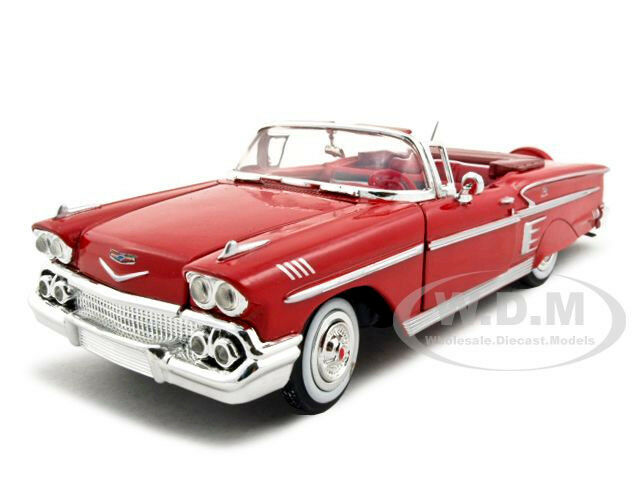 1958 chevrolet impala red 1 24 diecast model car by. Black Bedroom Furniture Sets. Home Design Ideas