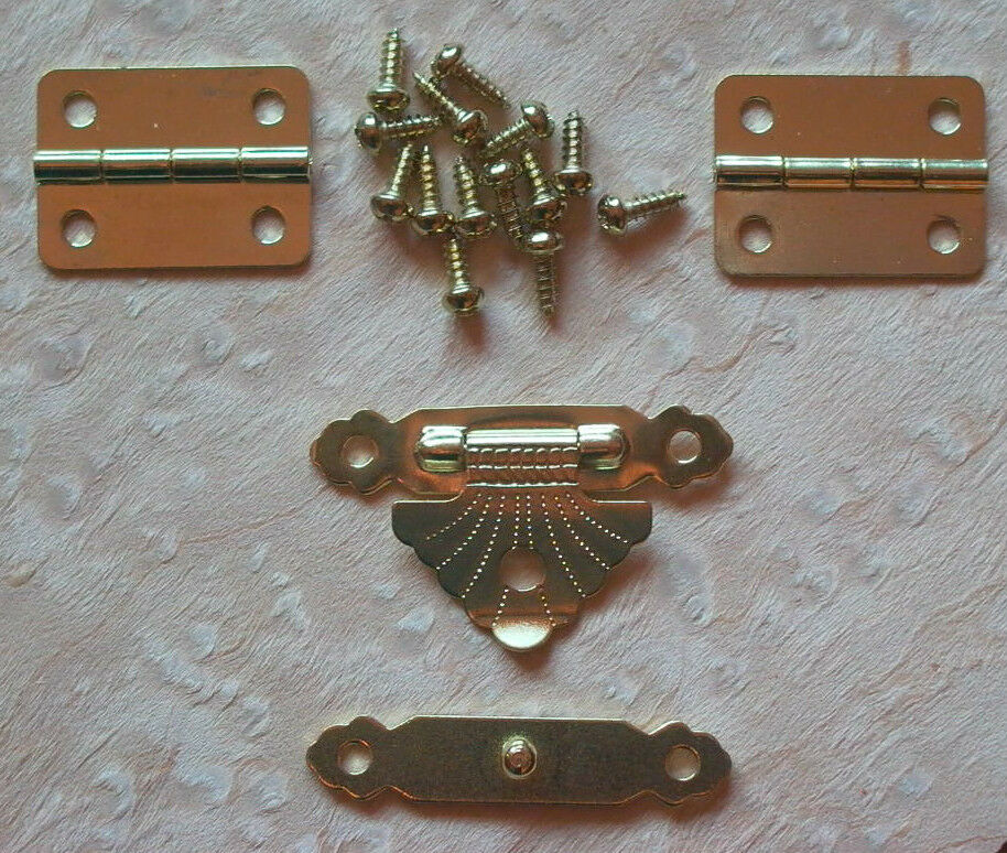 Small Brass Plated Hinge And Latch Set Box Jewel Case