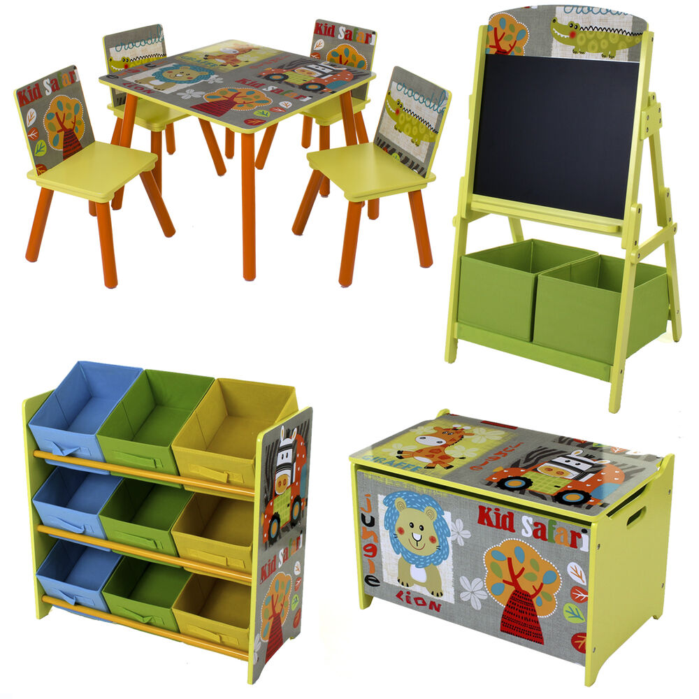 Safari style kids childrens table chair set toy box for Kids sitting furniture