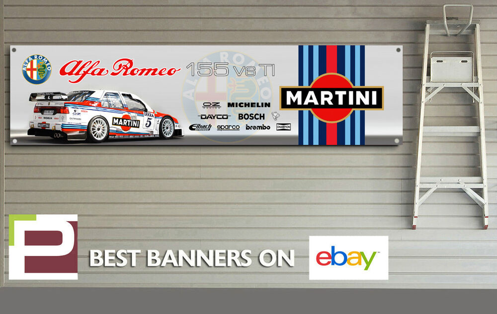 Martini racing alfa romeo 155 bttc logo banner for workshop garage man cave ebay - Garage alfa romeo orleans ...