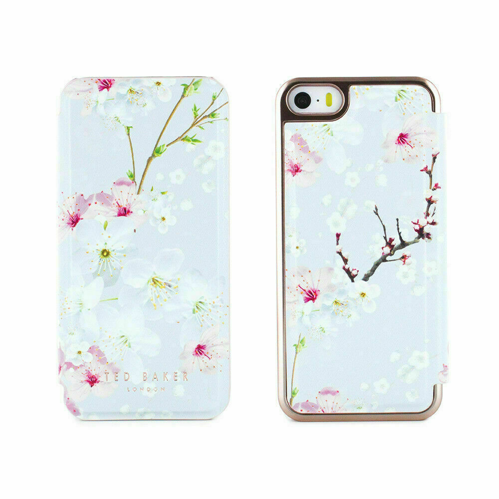 1f3157721ae68 OFFICIAL Ted Baker Floral ANA Mirror Folio Case for iPhone SE Oriental  Blossom