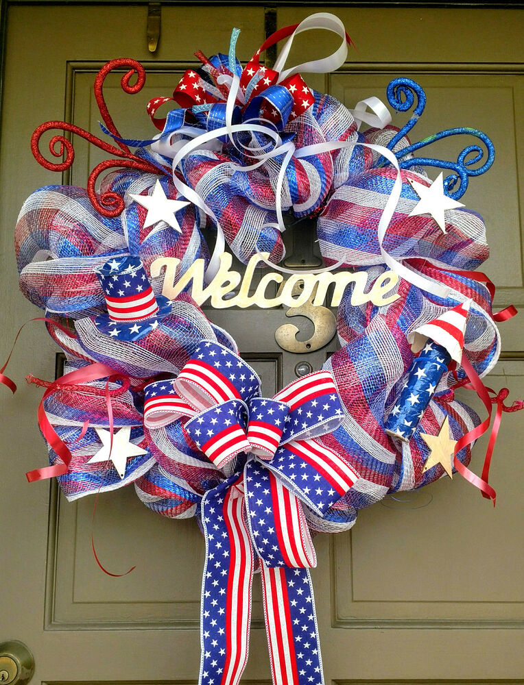 Handmade patriotic 4th of july summer deco mesh wreath for 3 wreath door decoration