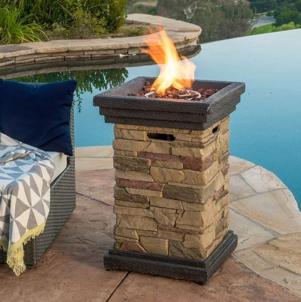 Patio Fire Pit Table Outdoor Gas Fireplace Bowl Propane Heater LP Deck Furnit