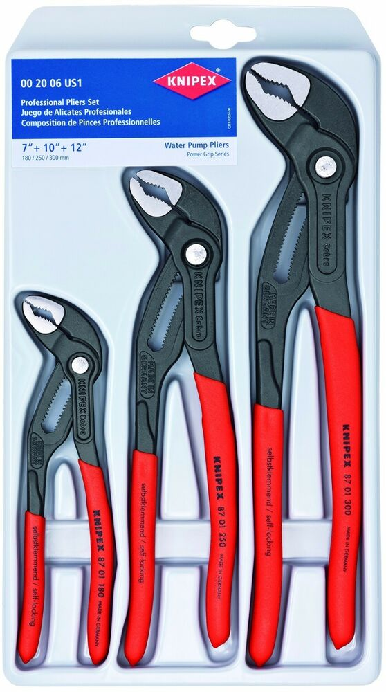 Knipex Cobra 3 Piece Adjustable Plier Set 002006us1 7 U0026quot  10