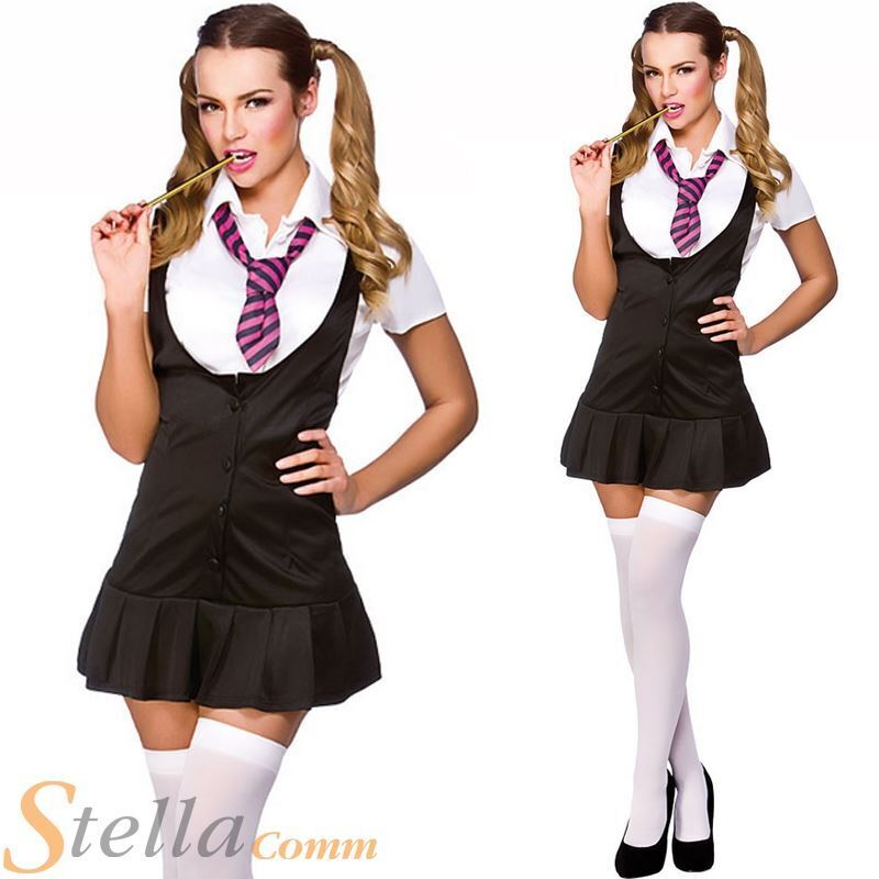 Ladies Naughty School Girl St Trinians Fancy Dress Costume -8179