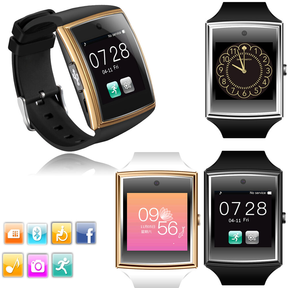 men women bluetooth wrist smart watch for android mobiles. Black Bedroom Furniture Sets. Home Design Ideas
