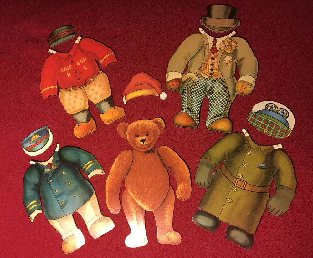 Collectors Vintage Jumbo Teddy Bear Paper Doll Costume Paperdoll Wrist Red Set 1984 Ebay