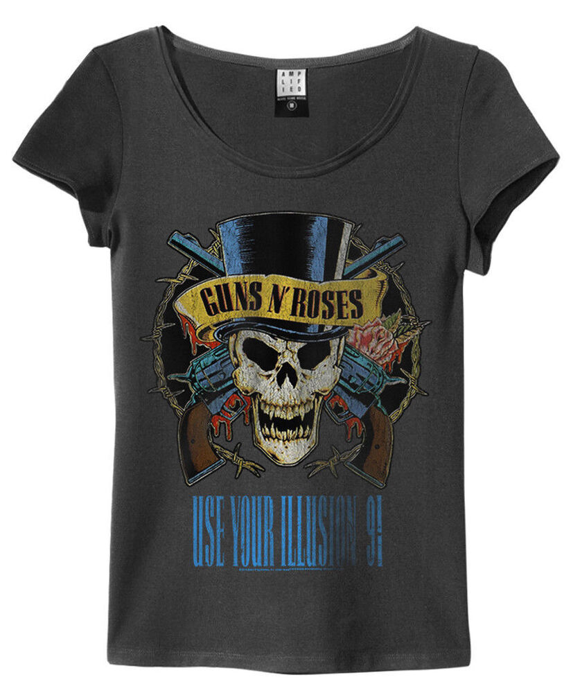 guns n 39 roses 39 use your illusion 39 womens t shirt charcoal amplified clothing ebay. Black Bedroom Furniture Sets. Home Design Ideas