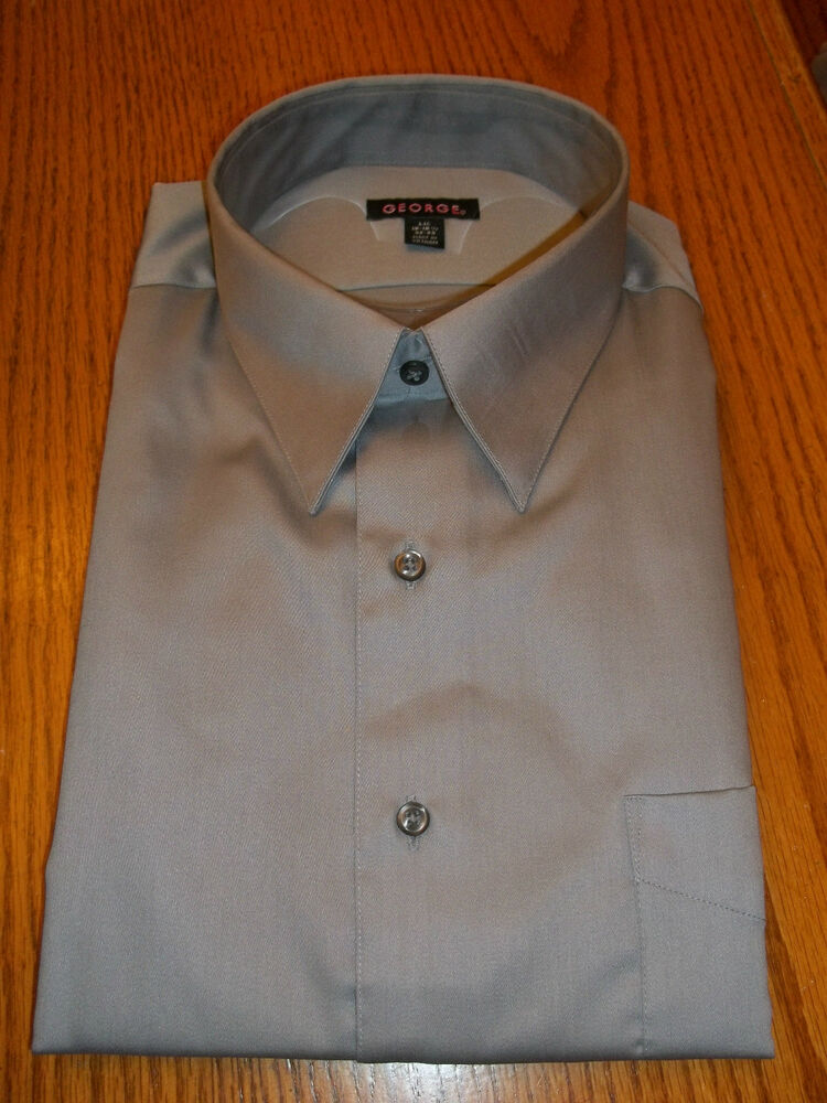 George Sateen Mens Button Down Dress Shirt Silver Large