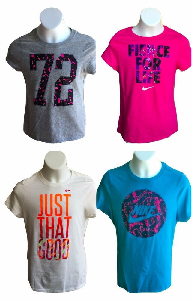 Brand new nwt nike girl youth kids graphic t shirts tee for Graphic t shirts for kids