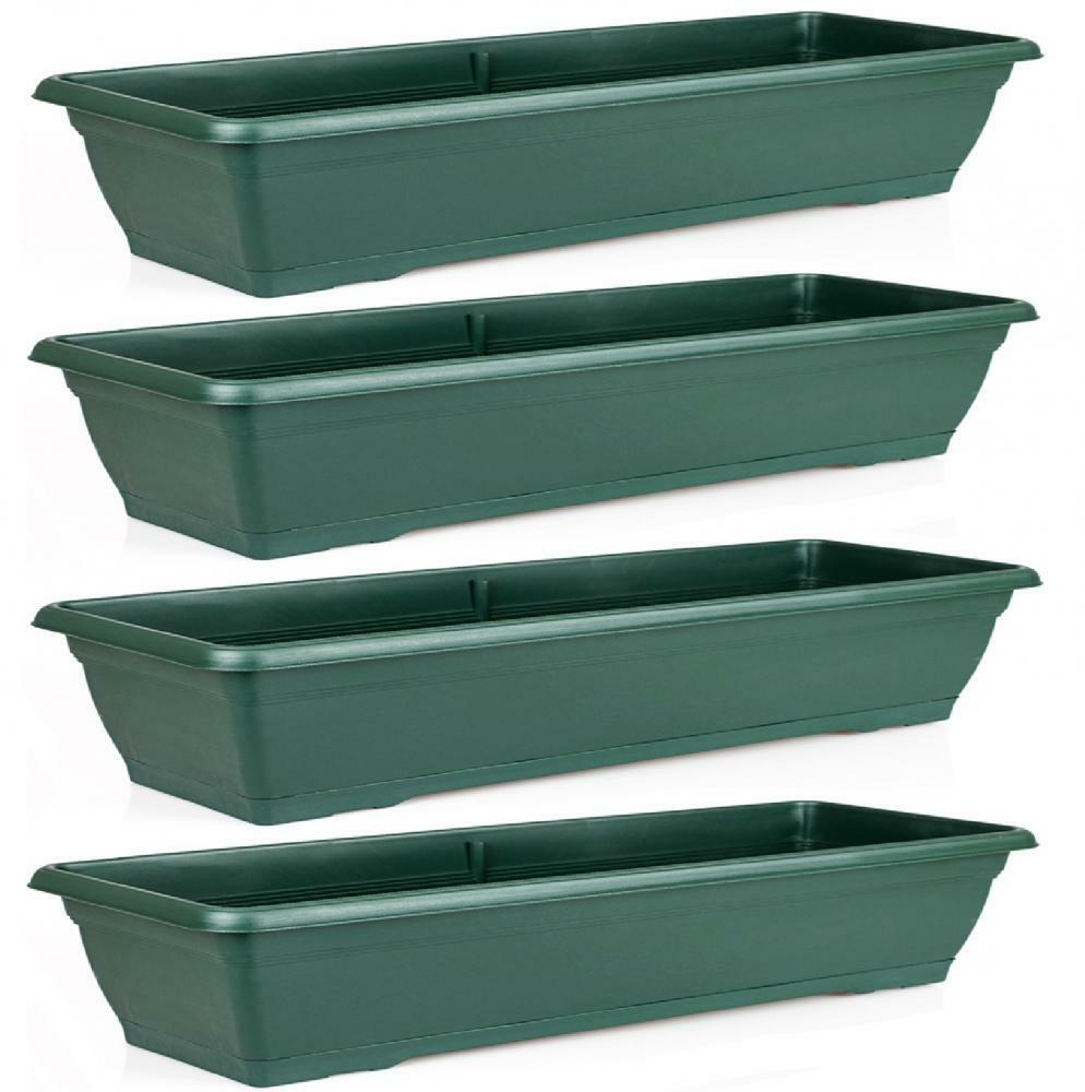 Set Of 4 Large 72cm Green Garden Plastic Trough Balcony