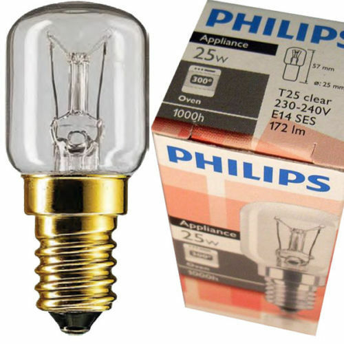 genuine philips oven lamp t25 e14 25w 25 watt 300 c bulbs for oven cooker a6760 ebay. Black Bedroom Furniture Sets. Home Design Ideas