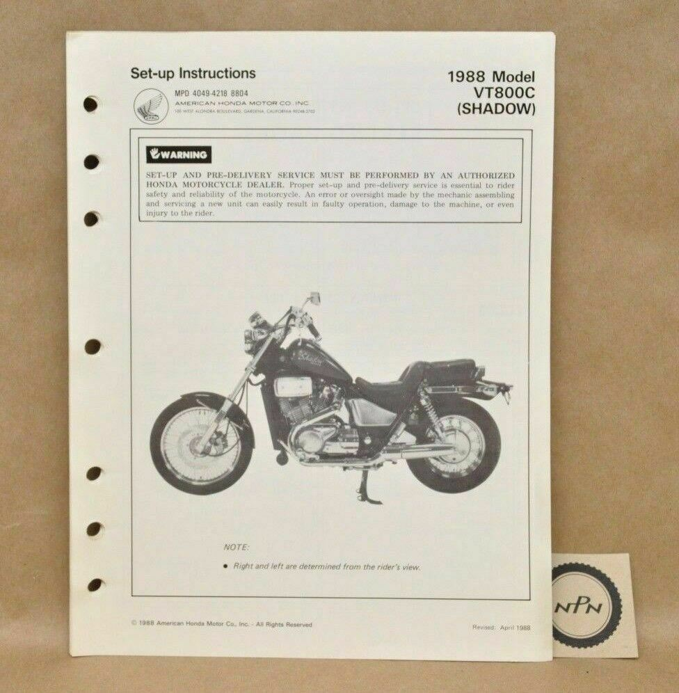 Vtg 1988 Honda Shadow VT800 C Set Up Assembly Pre Delivery Instruction  Manual | eBay