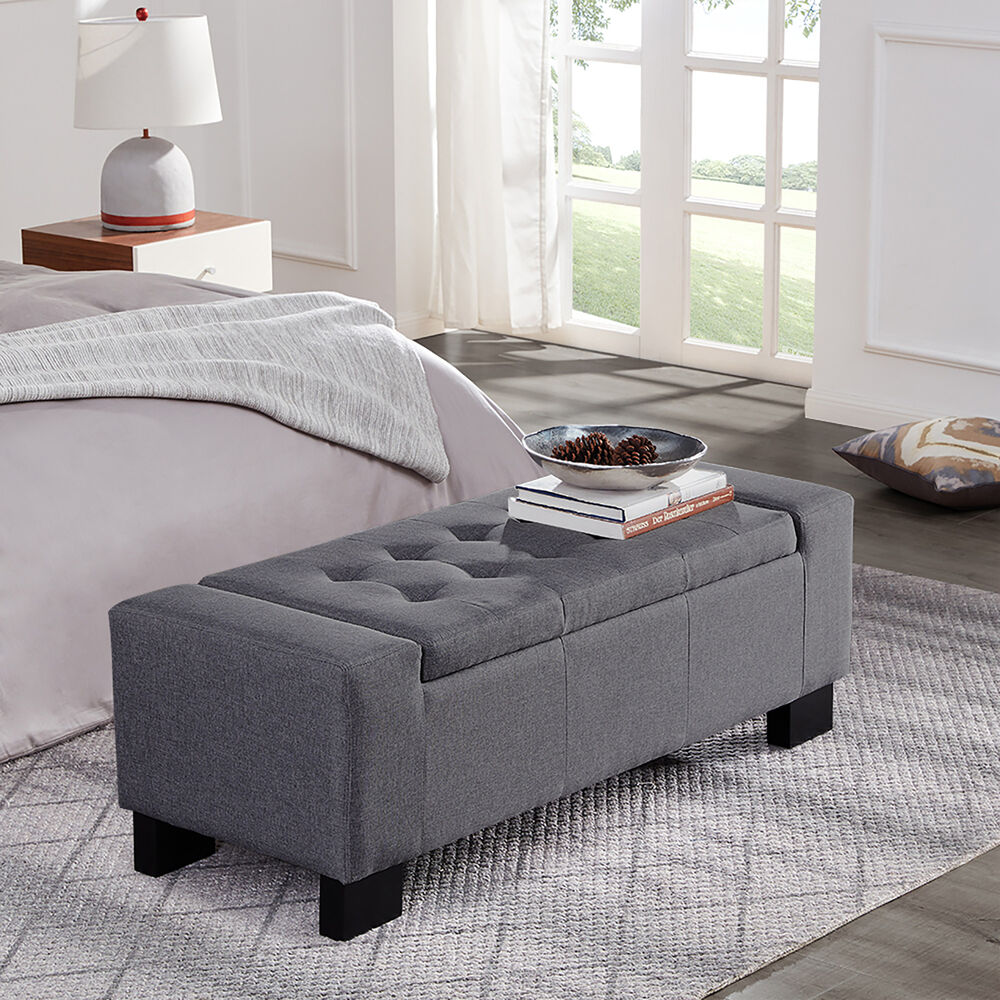 """Fabric Storage Bench Microfiber Button Tufted Bedroom Seat: 48"""" Tufted Ottoman Bench Fabric Seat Furniture Home Linen"""