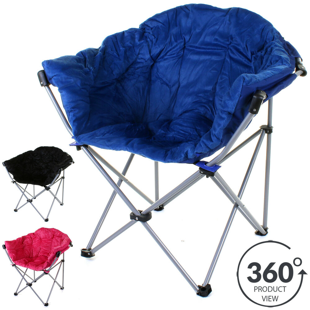 Deluxe Moon Chair Folding Camping Hiking Indoor Outdoor Garden Fishing Foldab