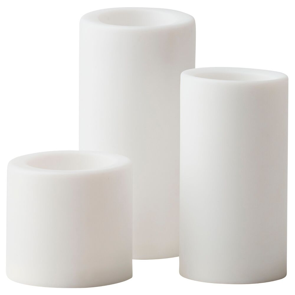 Set of 3 ikea stopen led flameless battery operated white for Ikea tea light battery