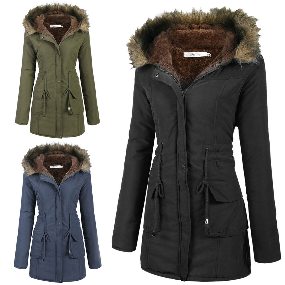 womens coats warm long coat fur collar hooded jacket slim