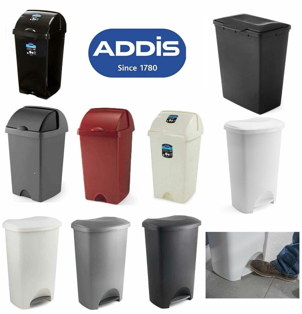 Kitchen Waste Bins: Addis Pedal Bin Large Lid 50 Litre Strong Kitchen Waste