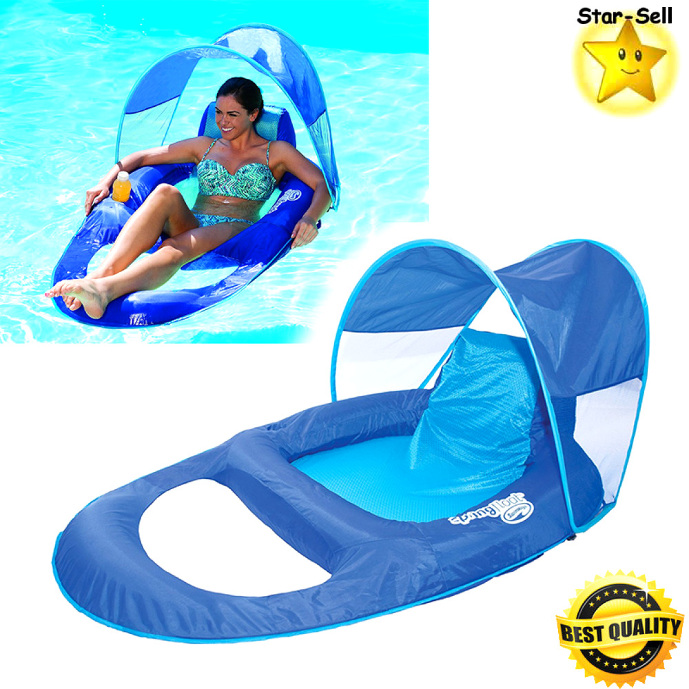 Inflatable float recliner canopy swimming pool floating - Swimming pool floating lounge chairs ...