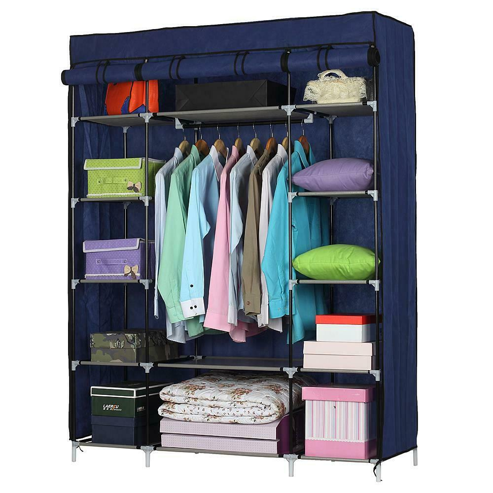 53 gray portable closet storage organizer clothes wardrobe rack with shelves 845846516137 ebay. Black Bedroom Furniture Sets. Home Design Ideas