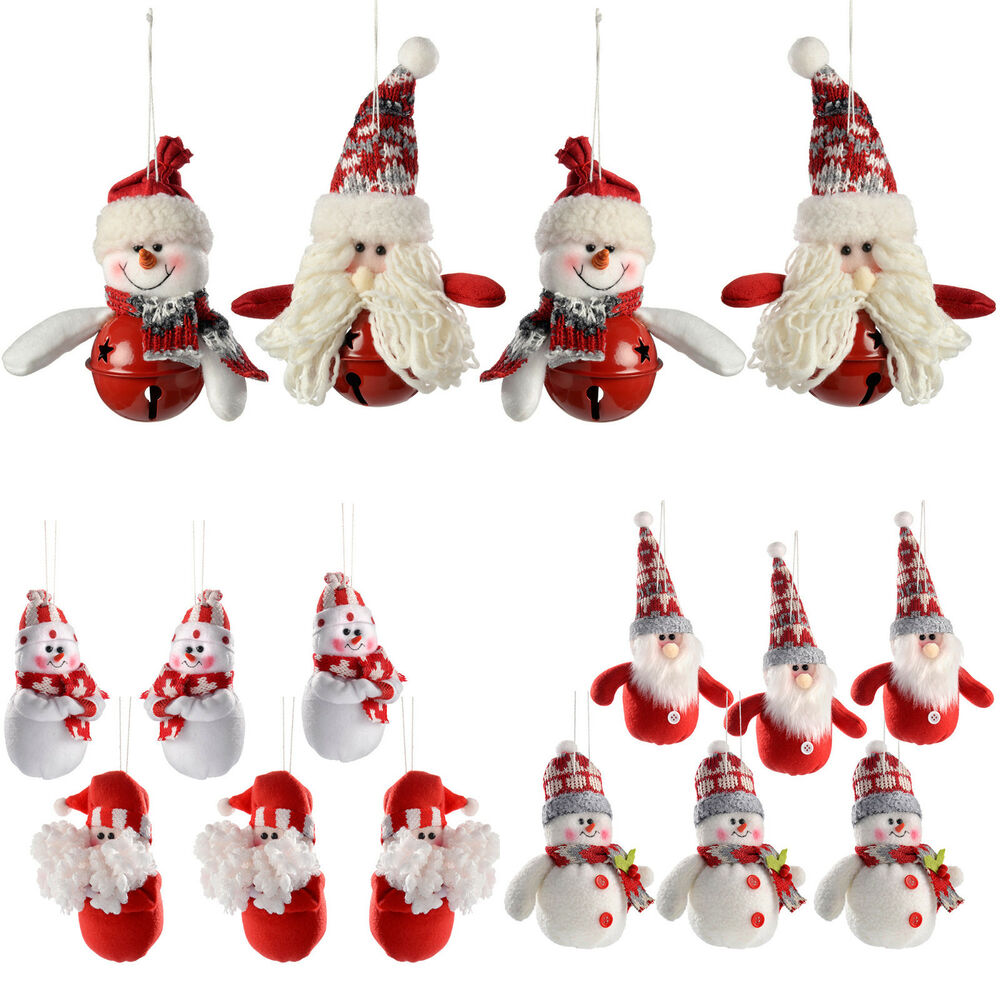 Santa snowman hanging christmas tree christmas decorations for Decoration 4 christmas