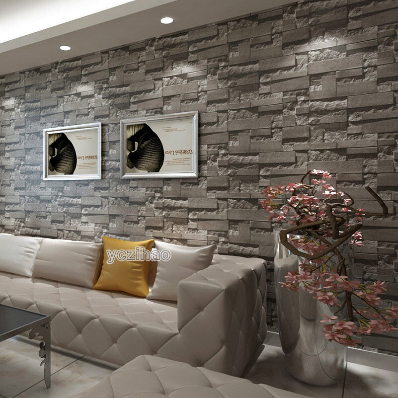 Grey Charcoal Slate 3D Effect Stone Brick Wall Textured