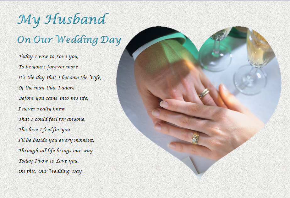 Gifts For Bride On Wedding Day From Bridesmaid: HUSBAND - ON OUR WEDDING DAY (personalised Gift)