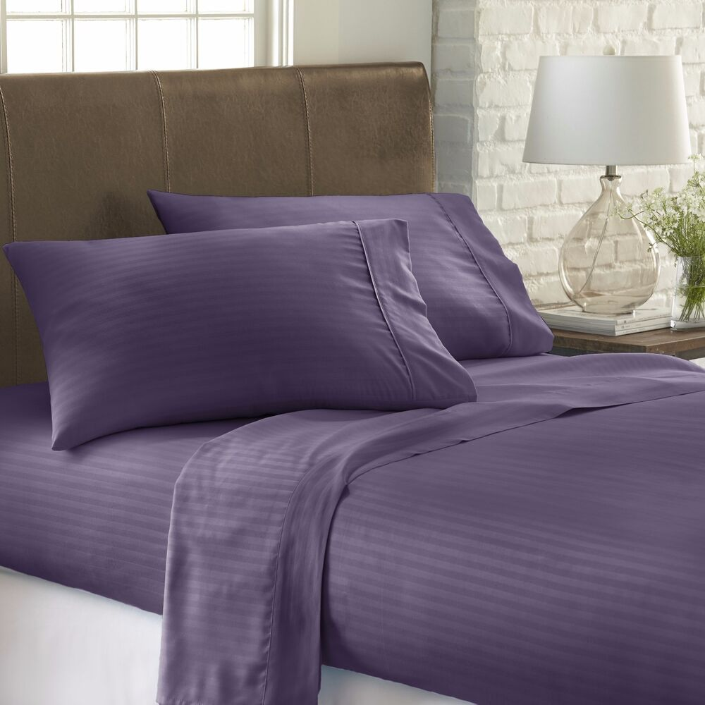 Hotel quality luxury striped bed sheet set by home for Luxury hotel 750 collection sheets