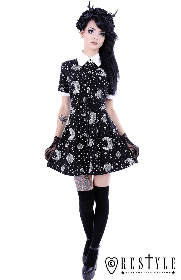 0a890290db1 Restyle Babydoll Dress White Collar Moon Print Circle Nu Goth Crescents  Stars