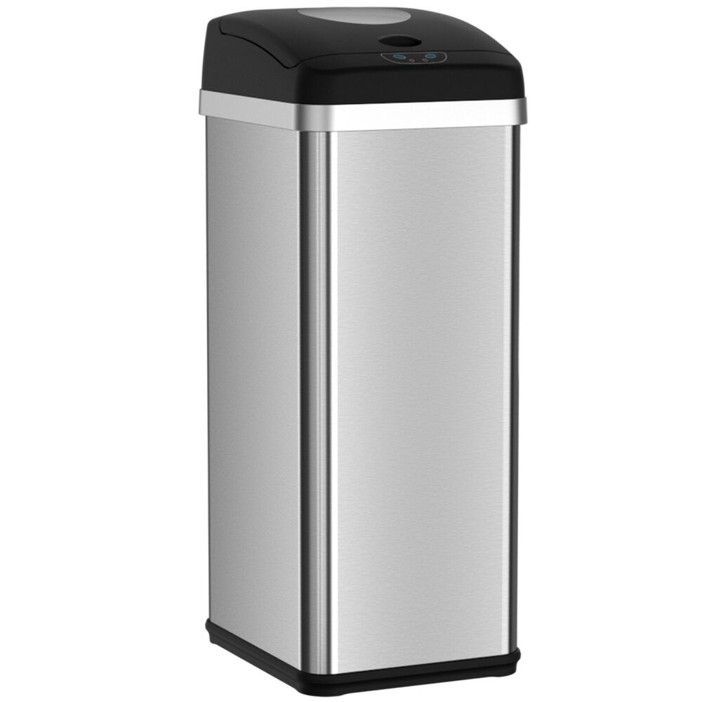 compactor trash can with automatic sensor touchless lid 13 gallon kitchen ebay. Black Bedroom Furniture Sets. Home Design Ideas