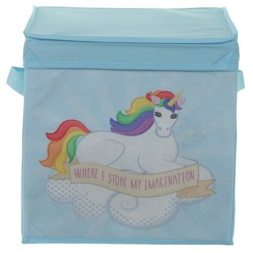 canvas aufbewahrungsbox mit deckel faltbox kiste karton box regenbogen einhorn ebay. Black Bedroom Furniture Sets. Home Design Ideas