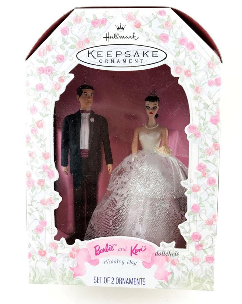 barbie wedding cake topper hallmark 1997 and ken wedding day groom set 11071