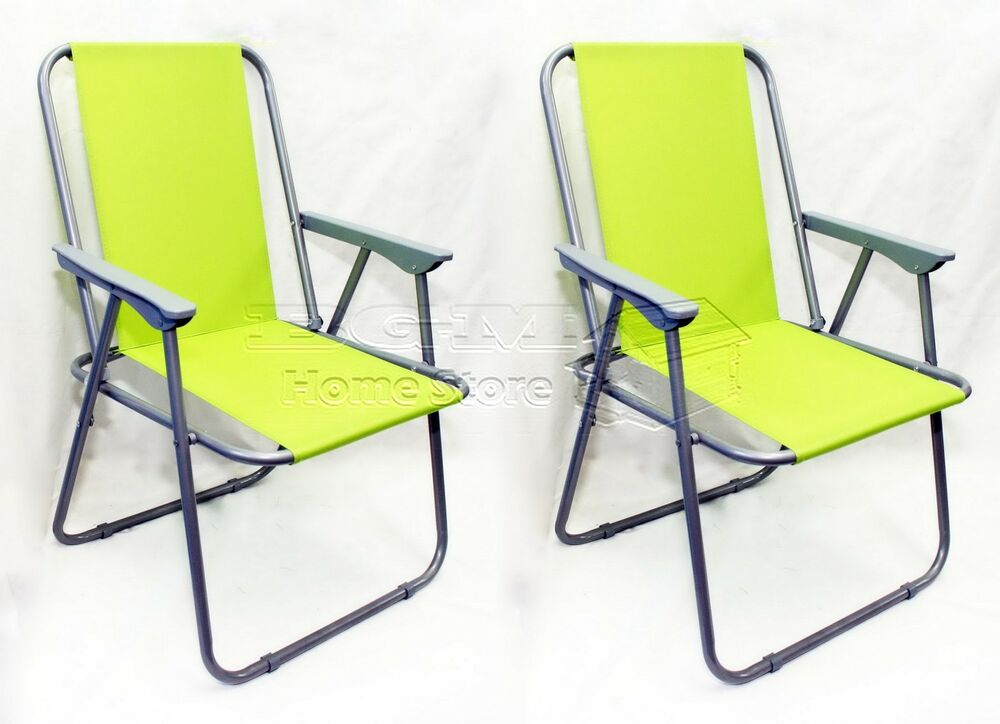 2X Green Folding Beach Camping Fishing Chair Garden Outdoor Furniture EBay