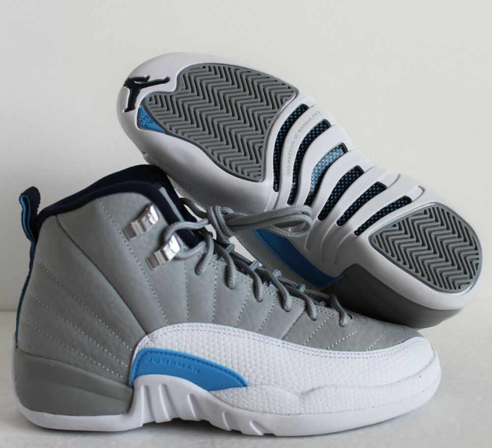 NIKE AIR JORDAN 12 RETRO BG WOLF GREY-UNI BLUE SZ 5Y//WOMENS SZ 6.5 [153265-007]
