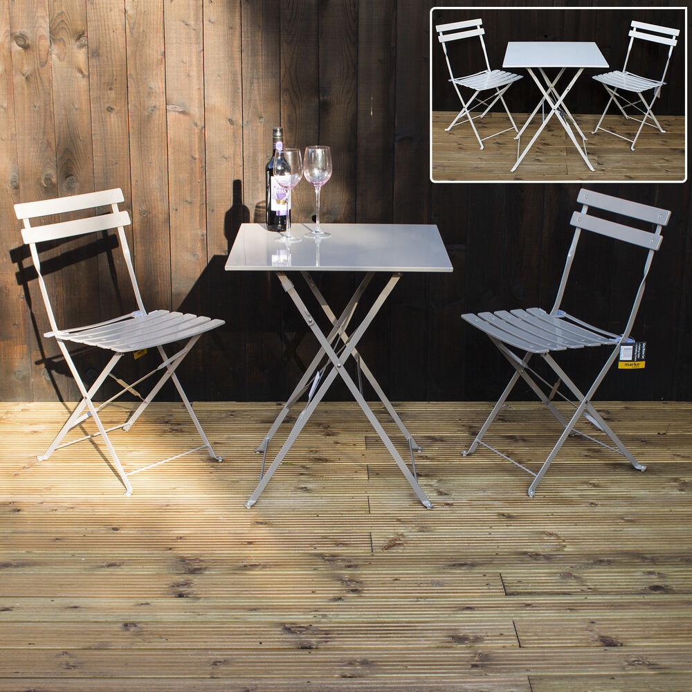 Marko Folding Metal Outdoor Patio Bistro Set Garden Furniture Grey White Mocha Ebay