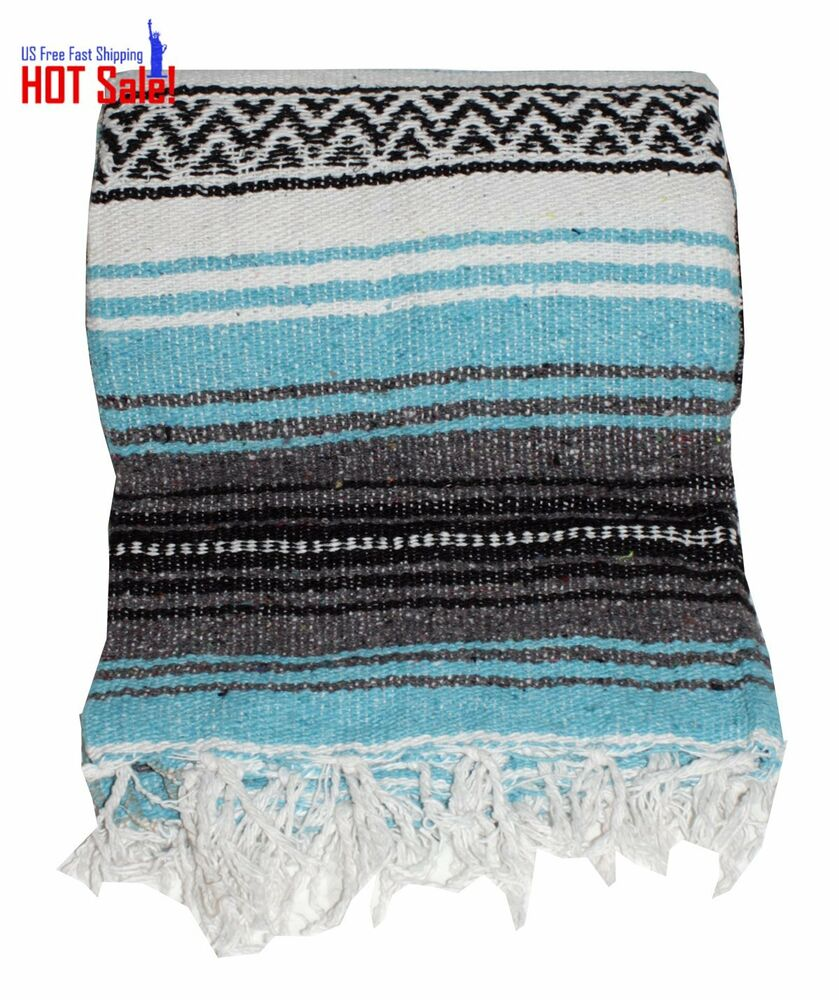 Authentic Mexican Falsa Blanket (Turquoise) Serape X Throw