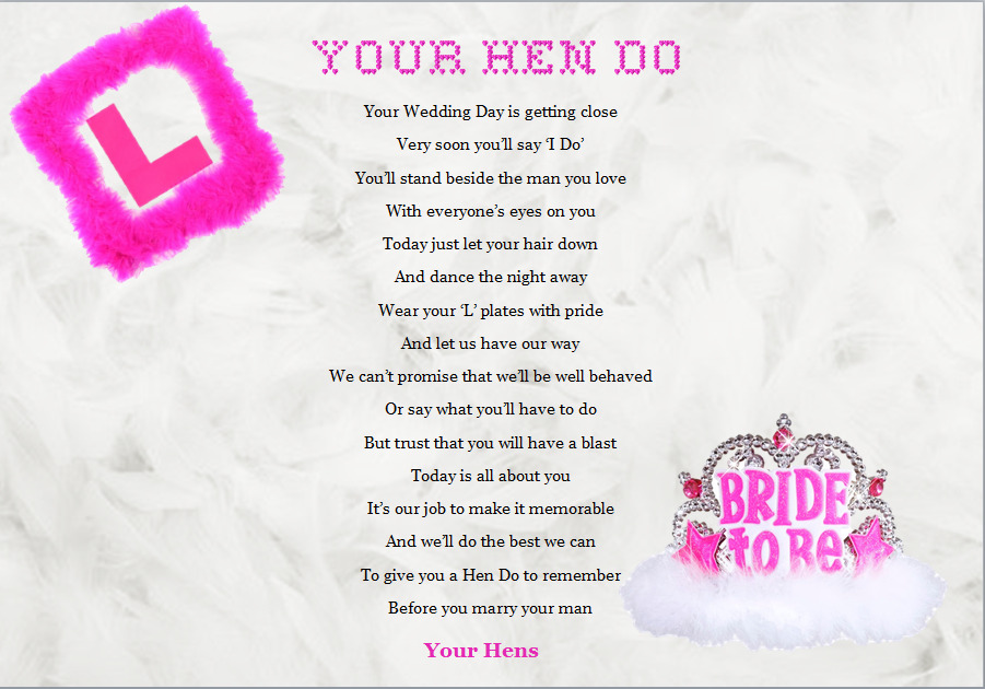 HEN PARTY / BRIDE TO BE .......Keepsake Gift...A4 poem ...