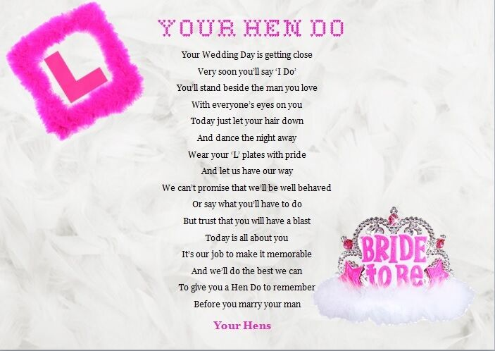 Hen Night Keepsake Gift A4 Poem Written By