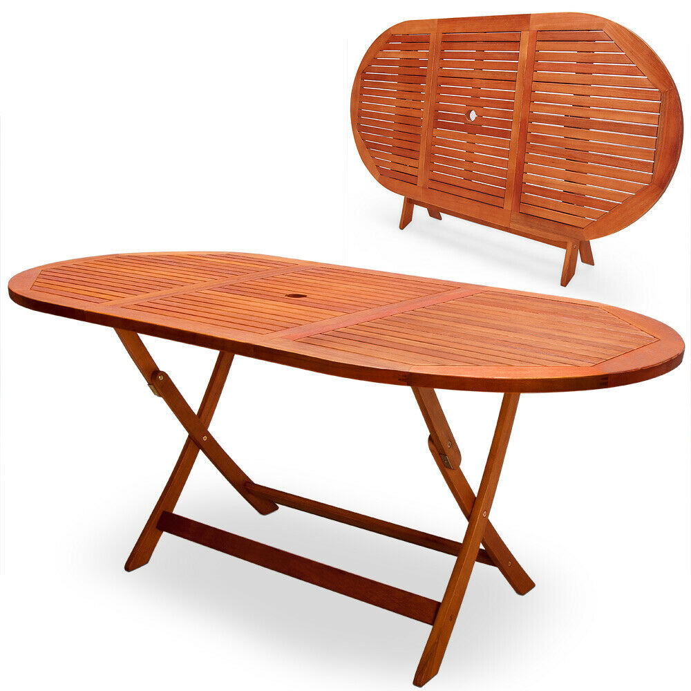 Details about garden table wooden dining furniture outdoor eucalyptus 6 seater patio 160x85 cm