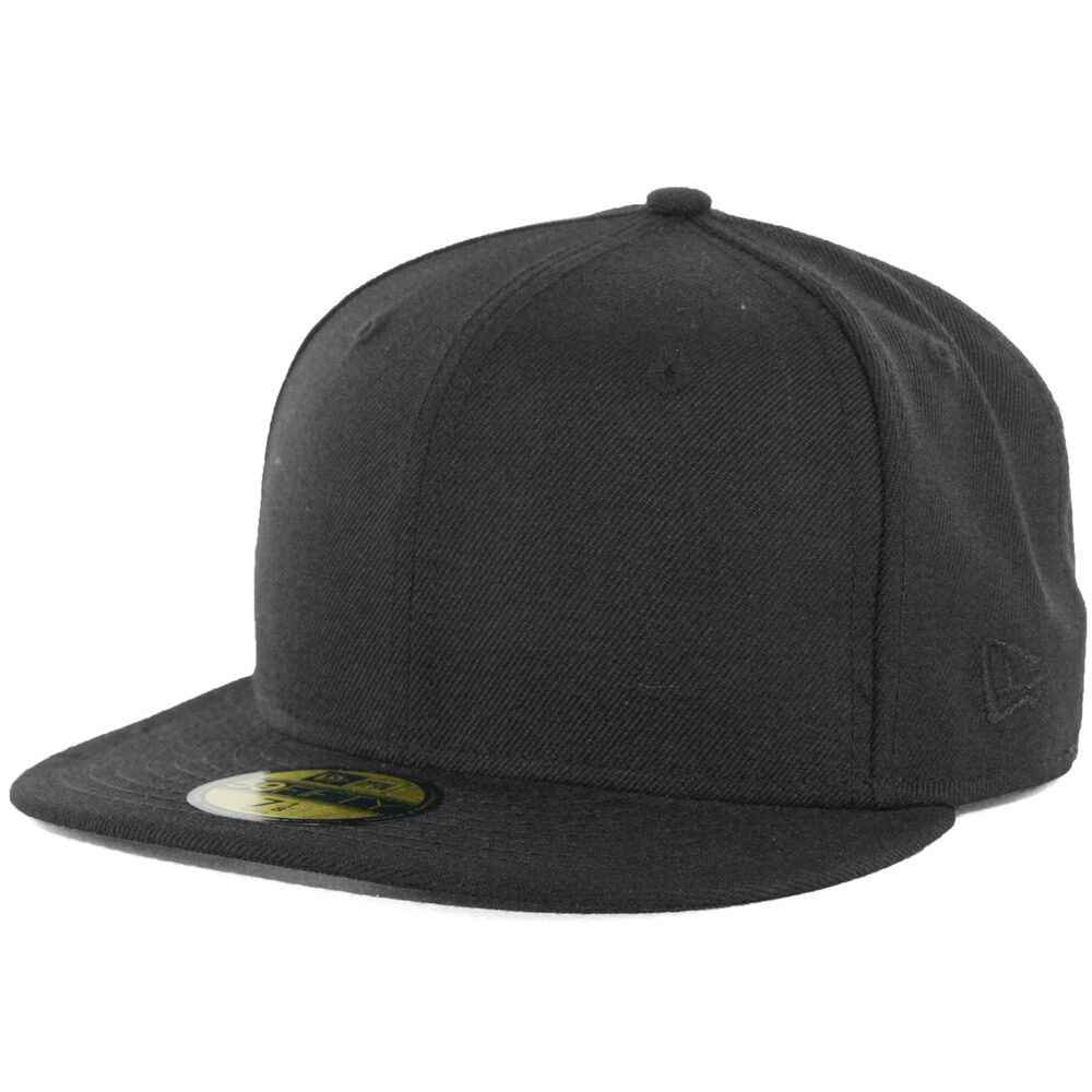 New Era Plain Tonal 59Fifty Fitted Hat (Black) Men's Blank ...